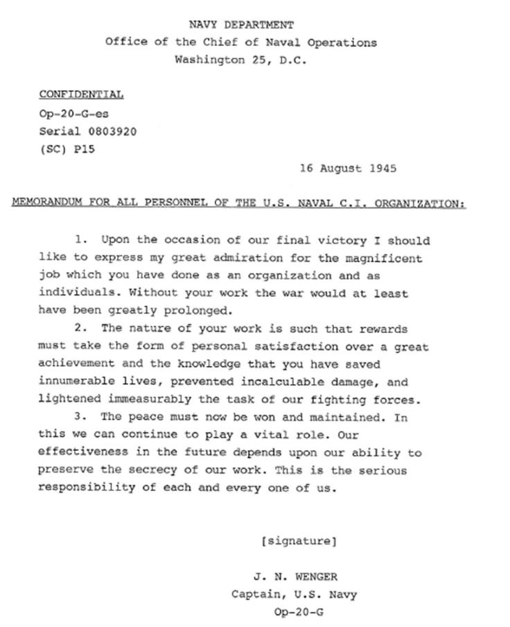 08.16.1945 CAPT Wenger letter